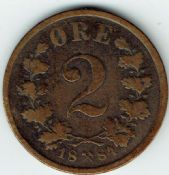Norway, Two Ore 1884, F, WE5892